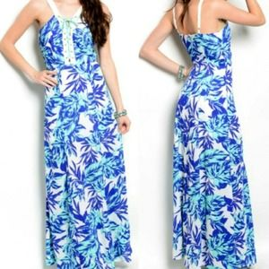 Jealous Tomato Tropical Lace Maxi Dress Sundress S